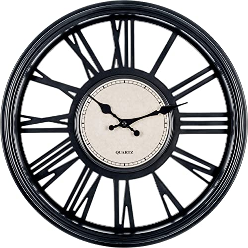 Bernhard Products Black Wall Clock 18 Inch Silent Non Ticking Quality Quartz Battery Operated Round Large Decorative Roman Numerals for Home Kitchen Living Room Dining Room Over Fireplace Clocks