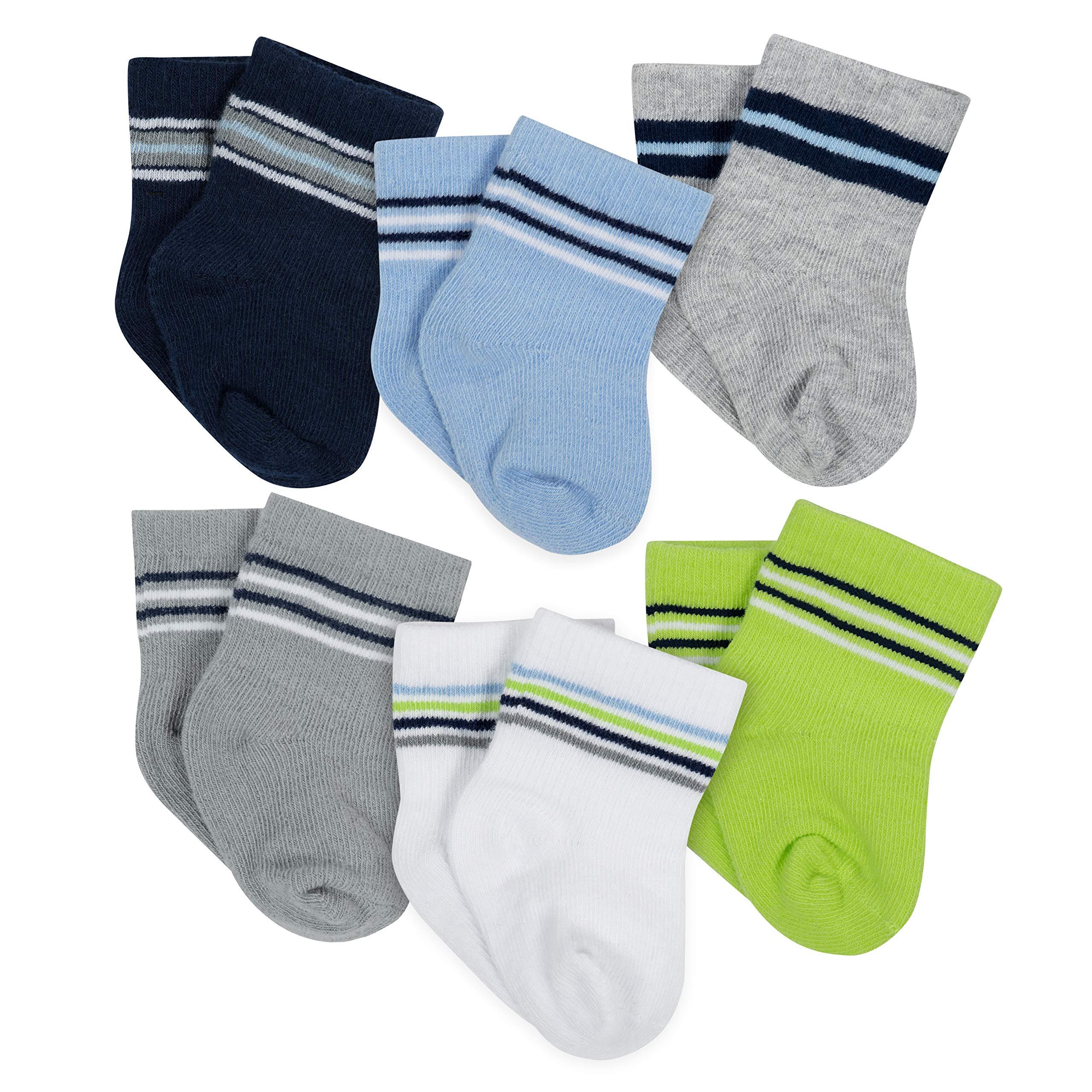 Gerber Baby Unisex 6 Pack Socks, Stripes, 3-6 Months
