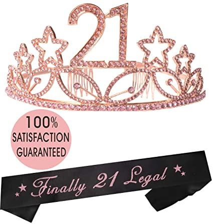 MEANT2TOBE 21st Birthday Tiara and Sash Pink| Happy 21st Birthday Party  Supplies| Finally 21 Glitter Satin Sash and Crystal Pink Tiara Birthday  Crown
