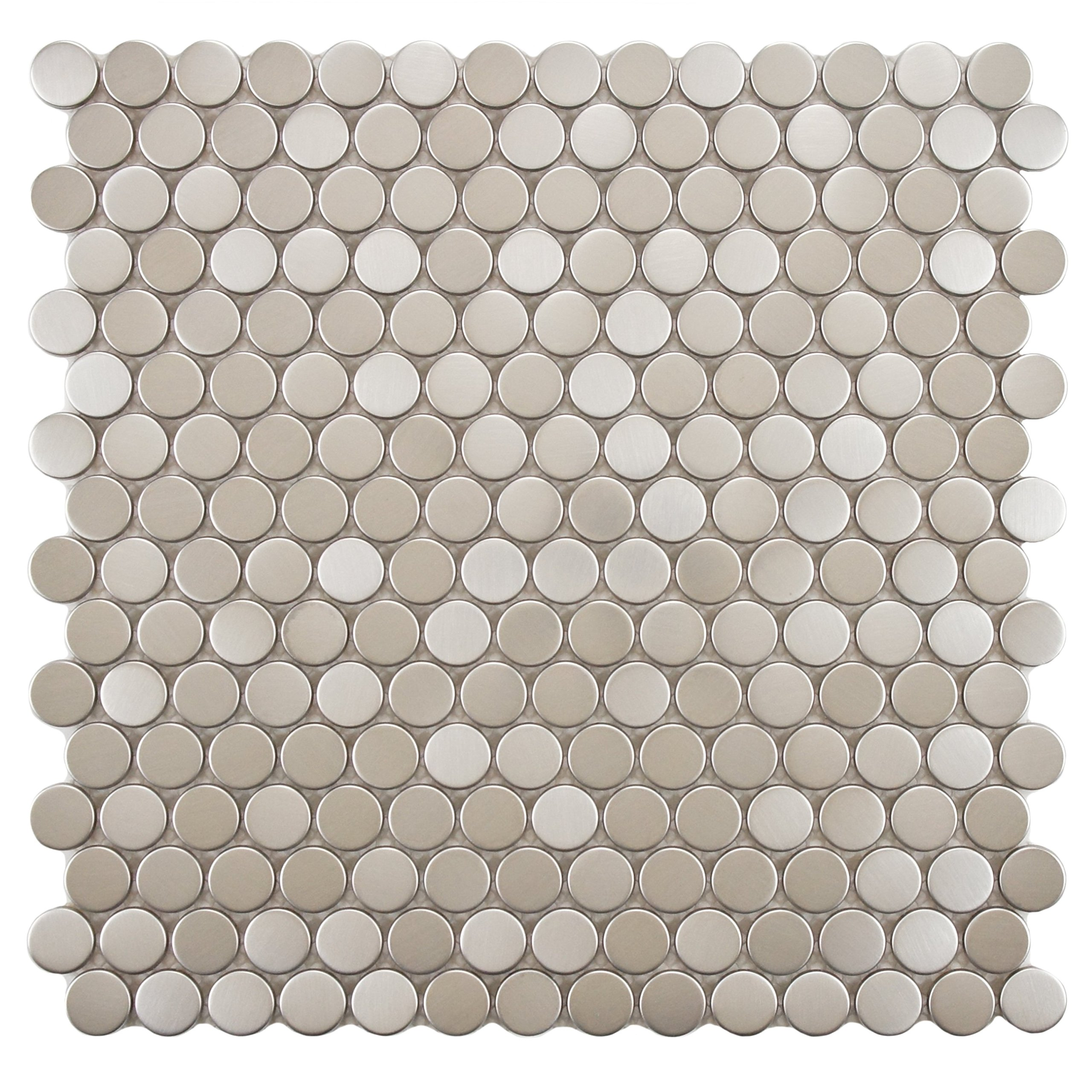 SomerTile MDXMPBST Metallic Penny Round Stainless Steel Over Porcelain Wall Tile, 11.75'' x 11.75'', Silver by SOMERTILE