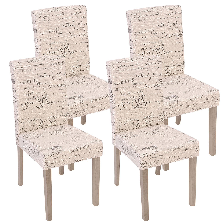 Mendler 4X Esszimmerstuhl Littau, Stuhl Lehnstuhl  Textil mit Schriftzug, Creme, Beine Struktur - Eiche