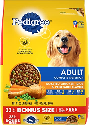 PEDIGREE Adult Complete Nutrition Roasted Chicken, Rice Vegetable Flavor Dry Dog Food 33 Pounds
