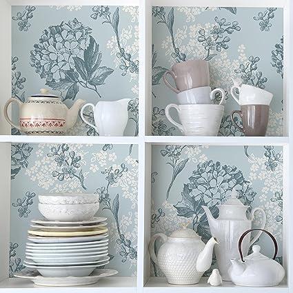 Carta Adesiva per Mobili - Hortensia Vintage Kitchen floral pattern ...