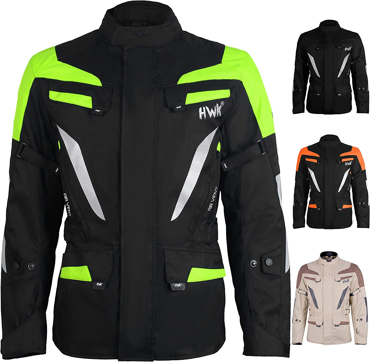 Adventure//Touring Mens Motorcycle Jacket Adv Dual Sport Racing CE Armored Waterproof Windproof Jackets All-Weather Jet-Black, 2XL