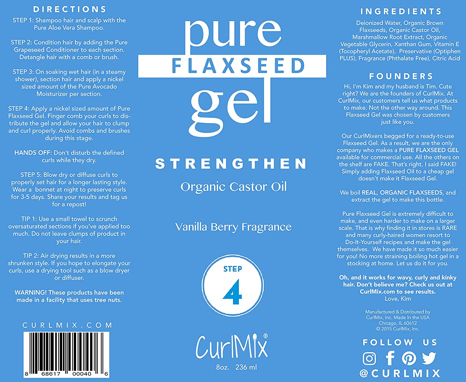 805d53d37cc Amazon.com : Pure Homemade Flaxseed Gel (Vanilla Berry Fragrance & Organic  Castor Oil) As Seen On Shark Tank : Beauty