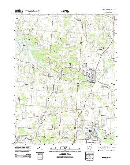 Amazon Com Topographic Map Poster New Carlisle Oh Tnm Geopdf 7 5