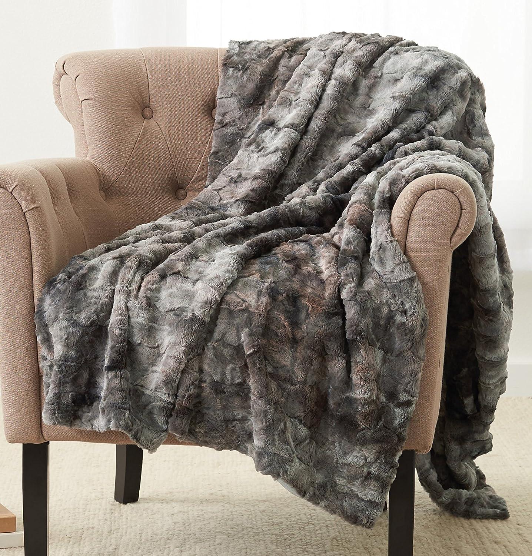 Pinzon Faux Fur Throw Blanket - 50 x 60 Inch, Frost Grey