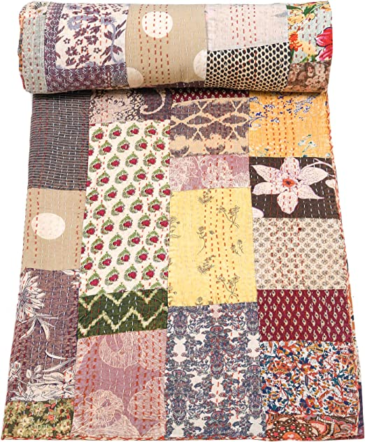 Indian Handmade Kantha Quilt Cotton Bedspread Queen Size Floral Bedding Blanket