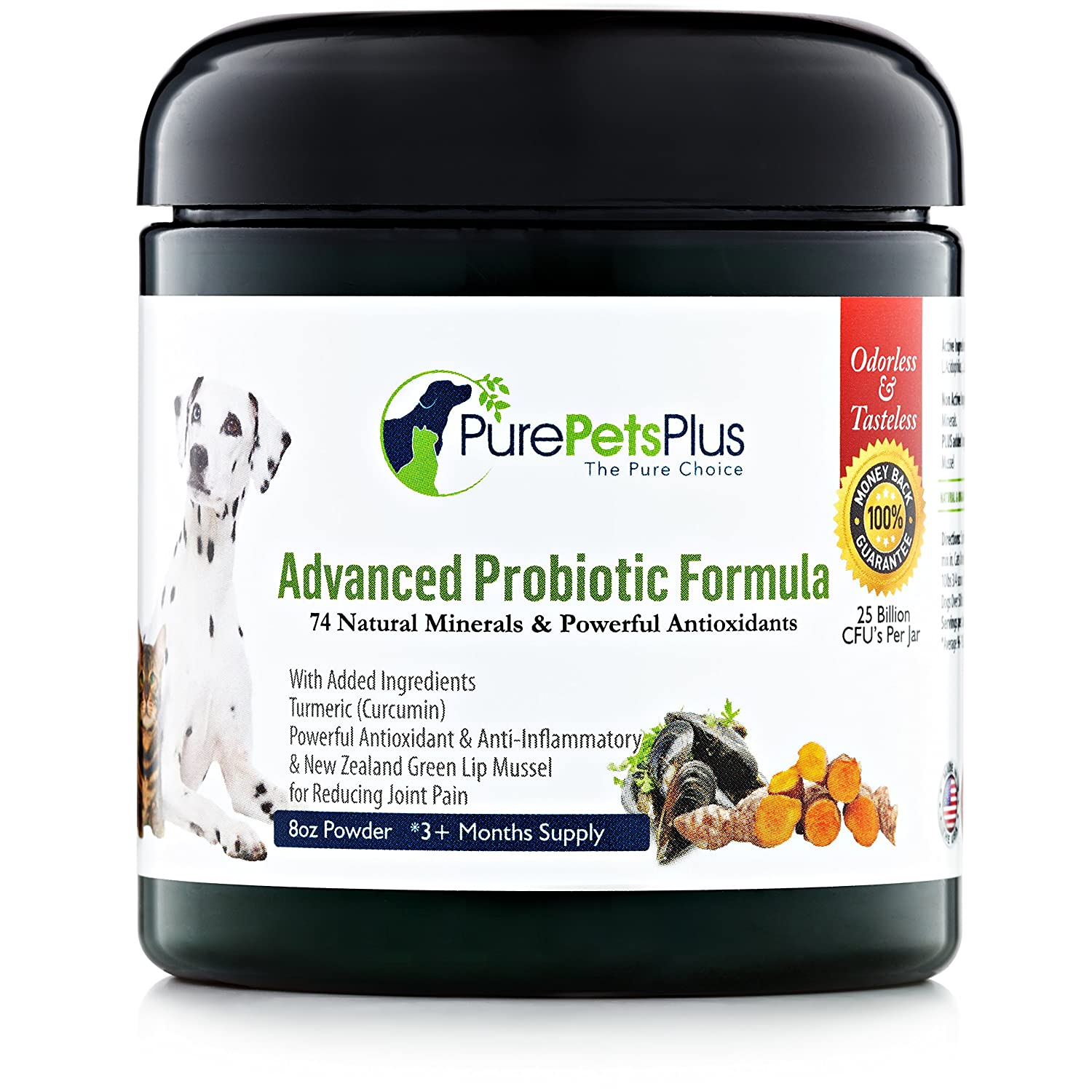 Advanced Probiotics for Dogs Supplement Powder with Organic Turmeric and Green Lipped Mussel to Support Hip, Skin and Digestive Health