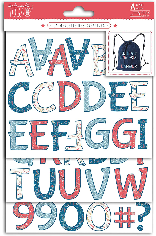 Rouge-Bleu-Beige Mlle Toga Hygge Chiffres et Lettres thermocollants Flex 3x2cm Environ