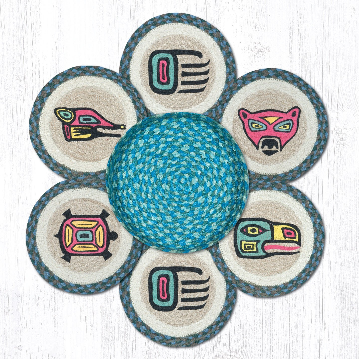 Heart of America Totem Trivets in a Basket 10 in. by 10 in. by Heart of America