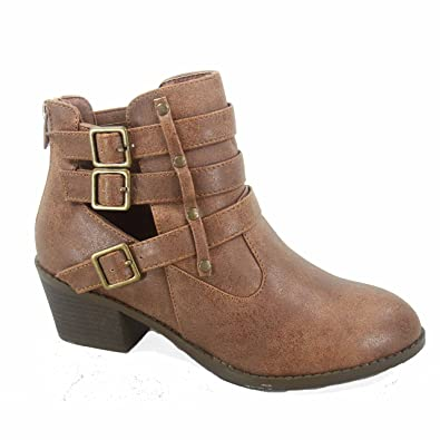 Eury-1 Women's Fashion Round Toe Buckles Low Heel Ankle Booties Shoes