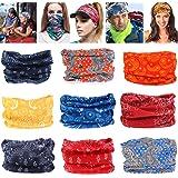Geberiela Seamless Headband Versatile 16-in-1 Stretchable Headwear Bandana Head Wrap Sweatband Scarf, Balaclava, Helmet Liner, 9 Piece