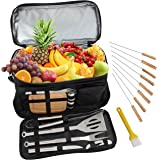 ROMANTICIST BBQ Grill Accessories Tool Set with 15 Can Insulated Cooler Bag - 20Pcs Stainless Steel Camping Grill Tools for Outdoor Trips Tailgating - Gift Kit for Men