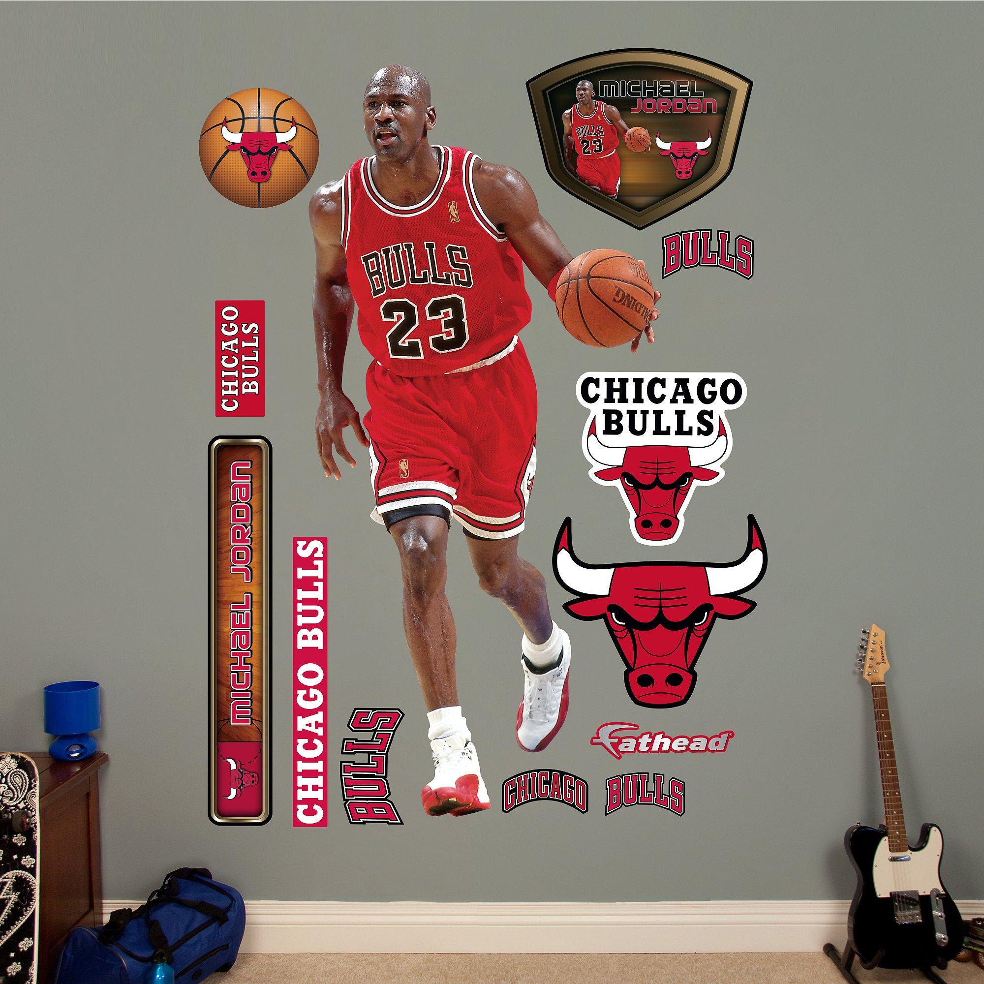NBA Chicago Bulls Michael Jordan Fathead Real Big Decals, 3'1'' x 6'6''