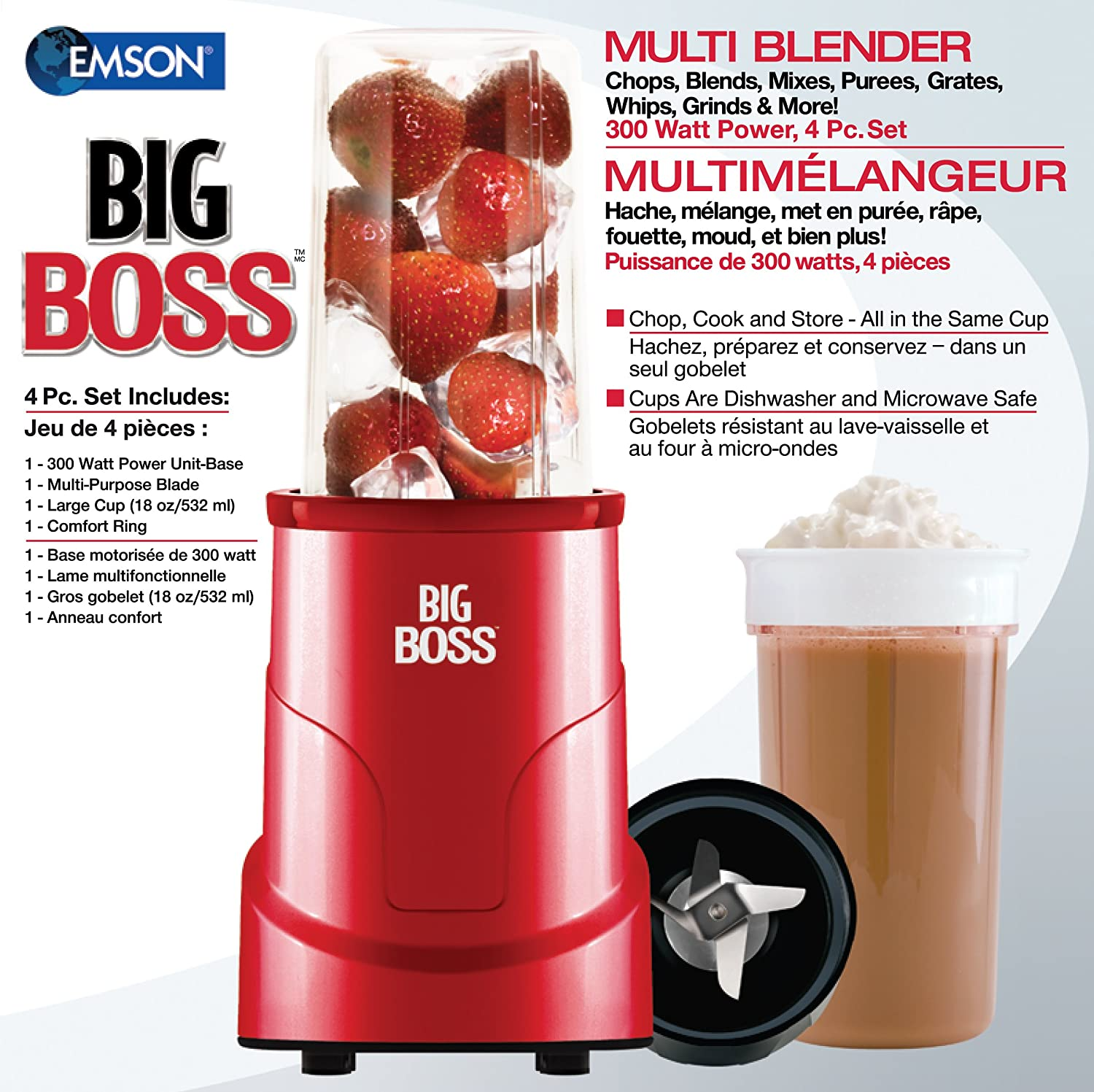 Big Boss 8866 4-Piece Personal Countertop Blender Mixing System, 300-watt, Red