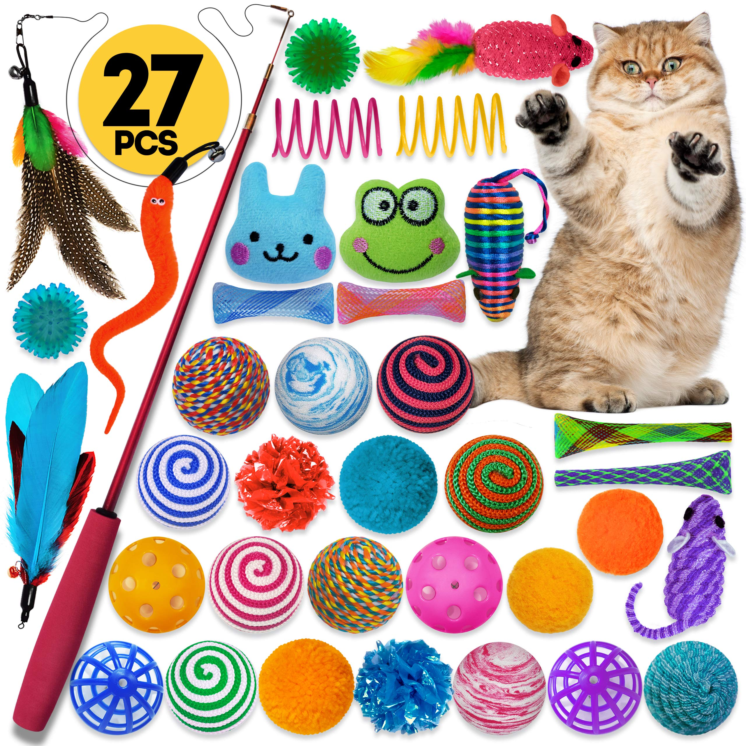 Cowfish Cat Toys Kitten Toys Assortments, 27PCS Variety Toy Set Including Cat Feather Teaser Wand, Feather Toys, Mice…