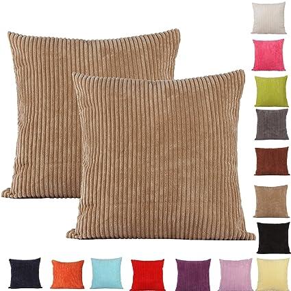 2 fundas de cojín decorativas Comoco®, color sólido, gruesas, 15 colores y 7 tamaños distintos, marrón claro, 55 x 55 cm