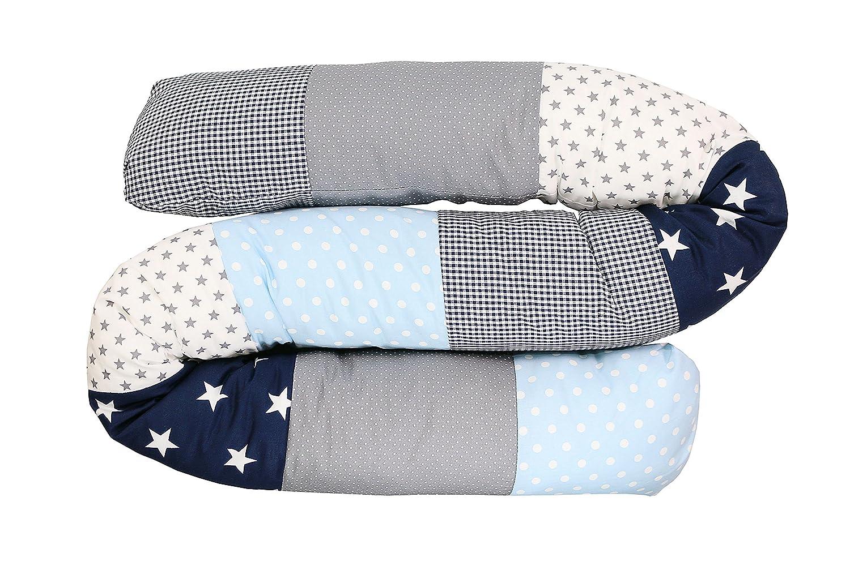 Baby Bettrolle 200x13 cm, Babybett Kantenschutz, Lagerungskissen, Motiv: Sterne ULLENBOOM /® Bettschlange Nestchenschlange Blau Hellblau Grau