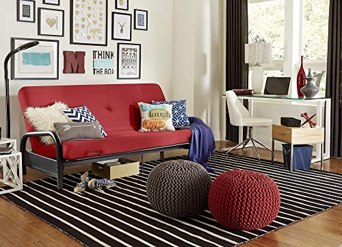 DHP Black Metal Arm with 6″ Futon Mattress, Red