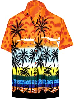 acabd47dc LA LEELA Shirt Casual Button Down Short Sleeve Beach Shirt Men Aloha Pocket  214