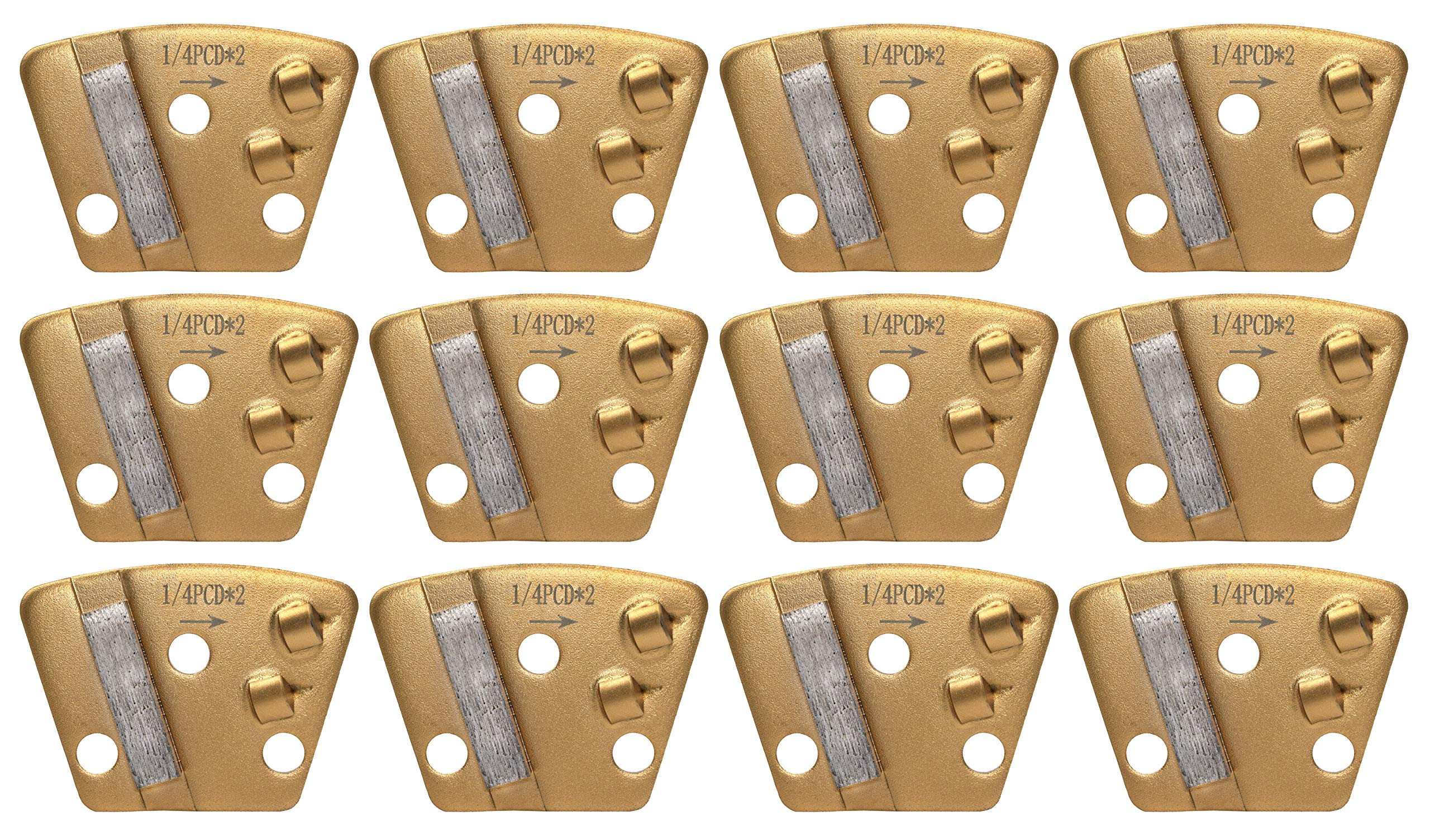 2 Quarter Rounds PCD Trapezoid with 16 Diamond Grit - Left - Heavy Scraping & Surface Coating Removal - Pack of 12 - Dragon Tooling