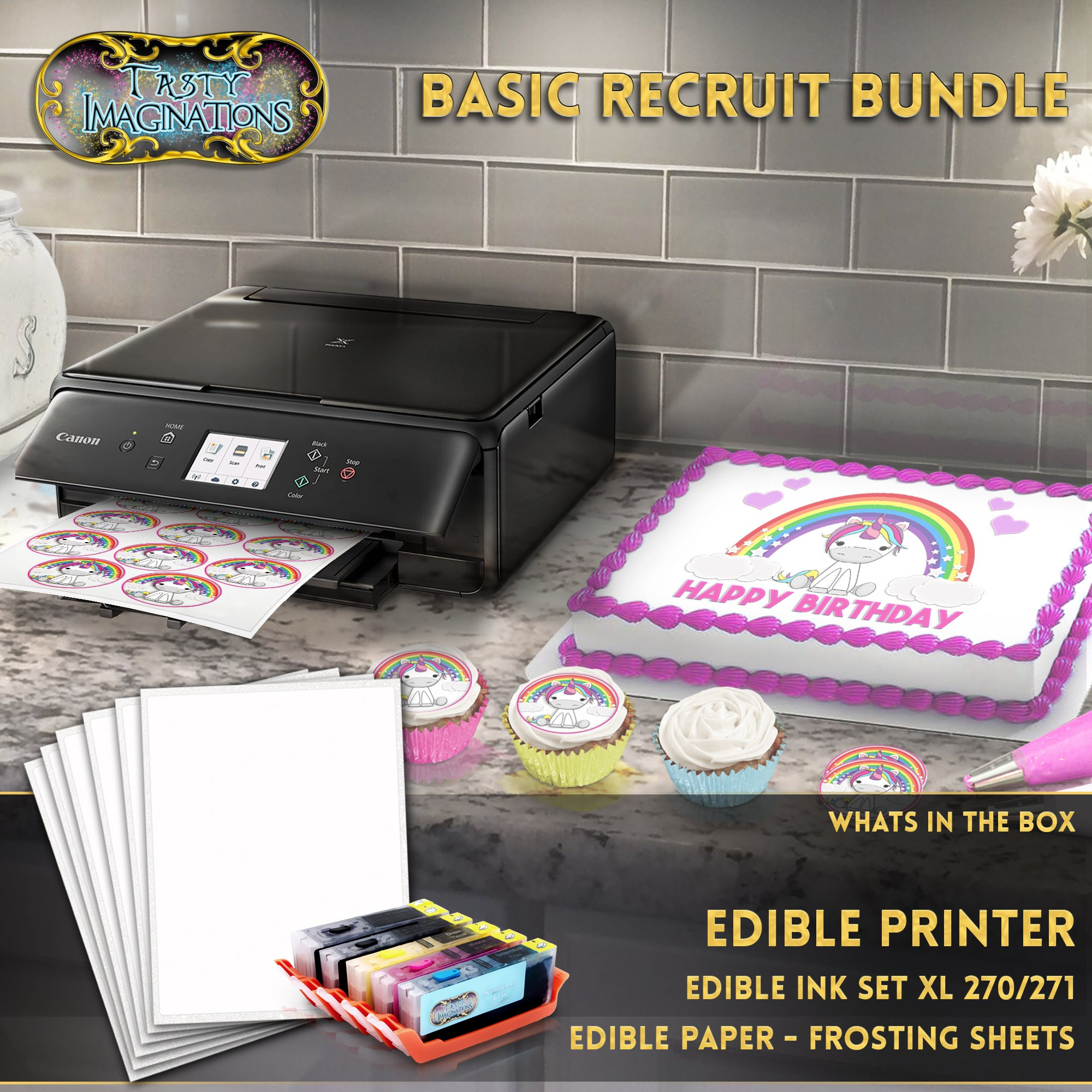 Edible Printer Bundle - Includes XL Edible Ink Cartridges and Frosting Sheets - Basic Recruit Package