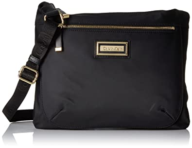 Amazon.com  Calvin Klein Women s Belfast Nylon Messenger, Black Gold ... 0c2f3d099e