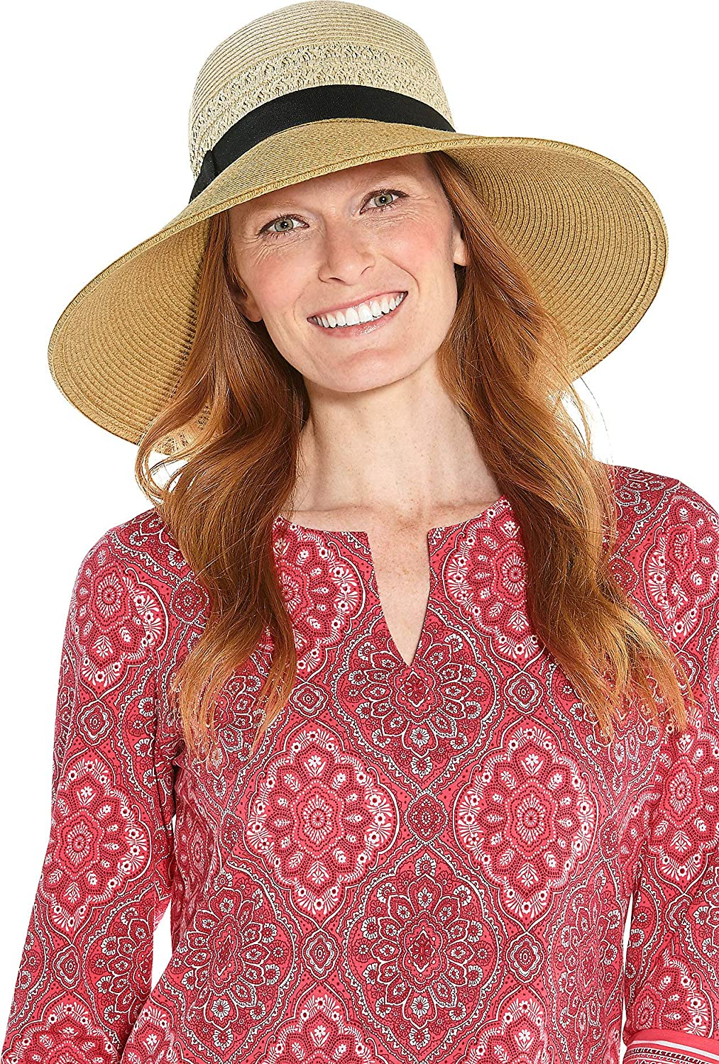 50e6fb15b9d Coolibar UPF 50+ Women s Shannon Wide Brim Beach Hat - Sun Protective (One  Size- Natural Colorblock) at Amazon Women s Clothing store