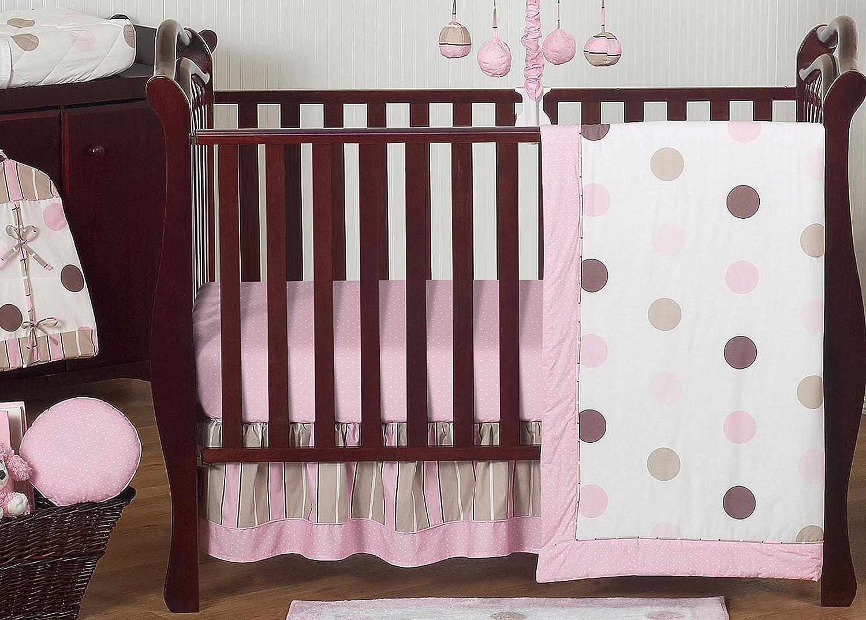 Contemporary Pink and Brown Modern Polka Dot Baby Girl Bedding 11pc Crib Set Without Bumper Sweet Jojo Designs B019J2CV38