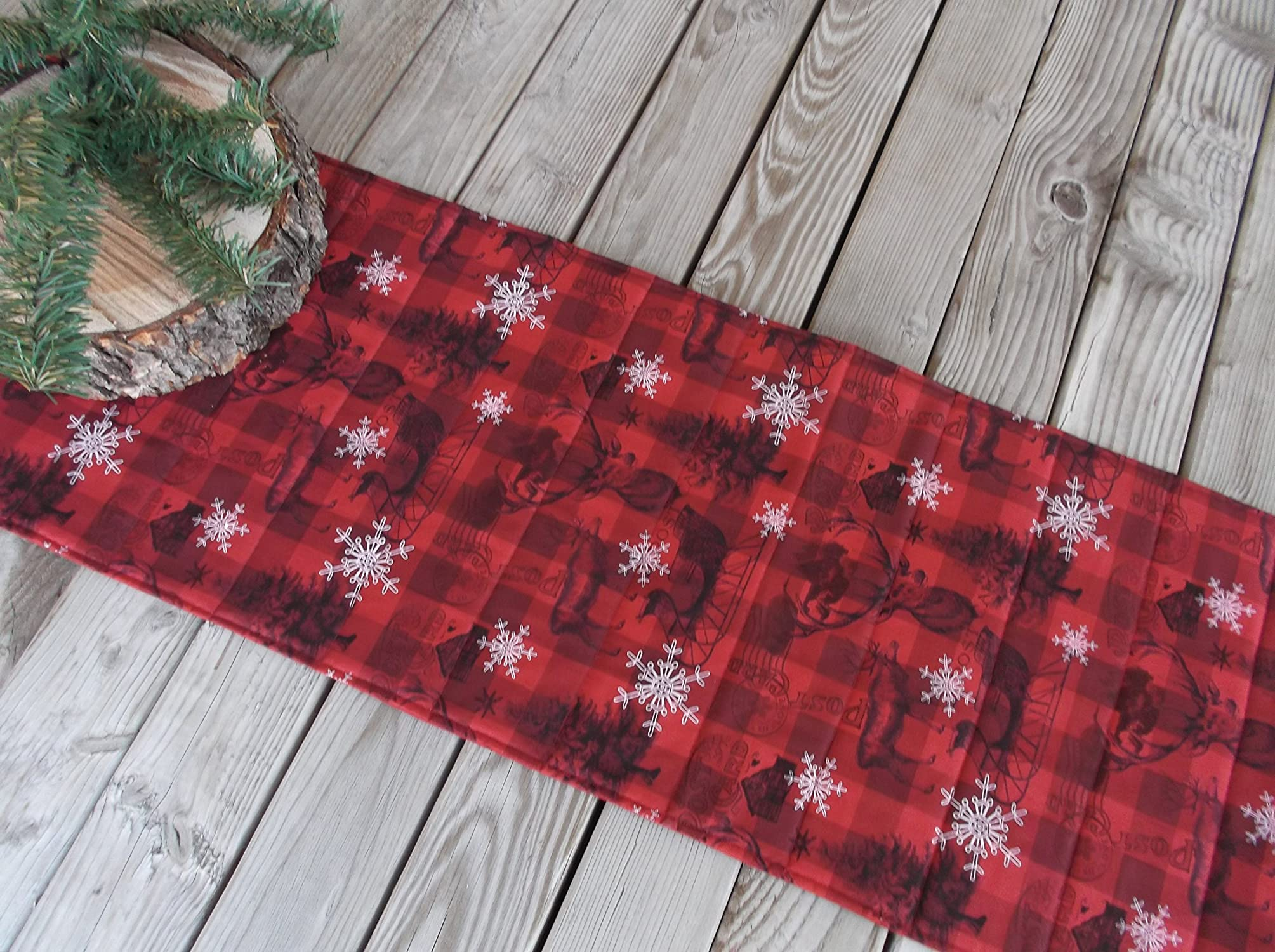 Handmade Winter Cabin Quilted Table Runner