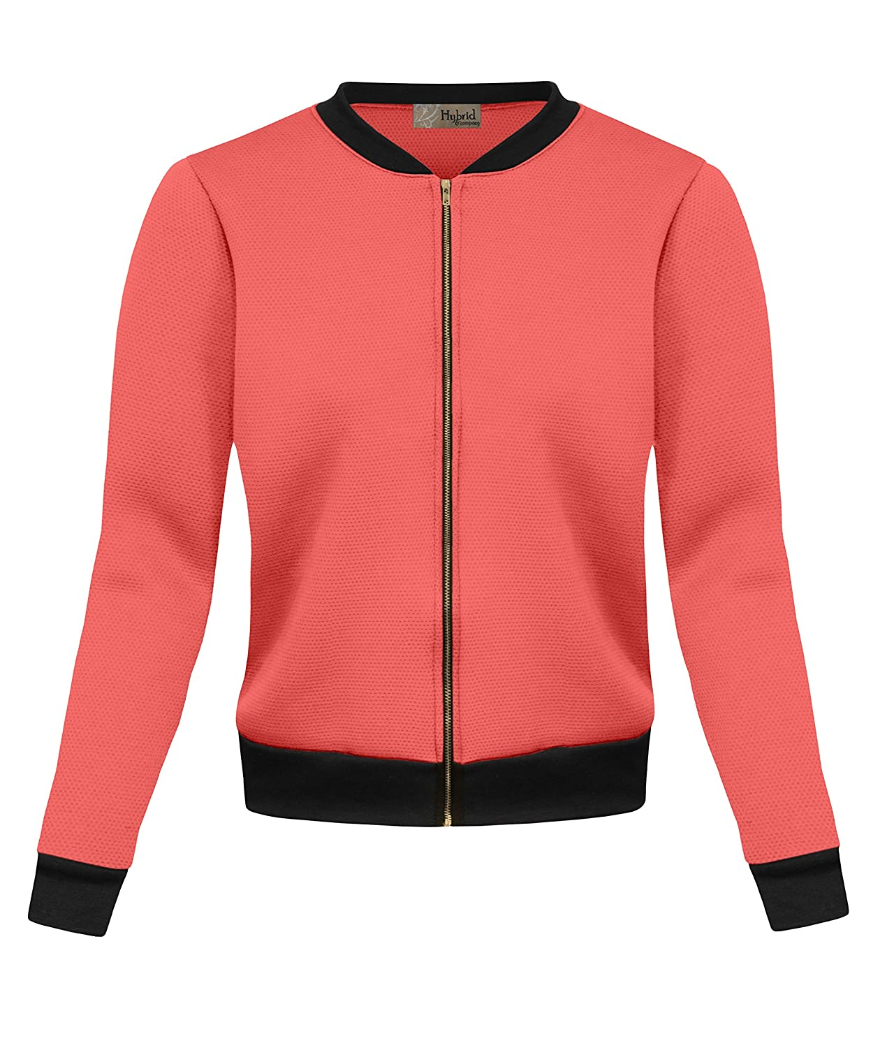 HyBrid & Company Womens Fashion Color Zip up Bomber Jacket