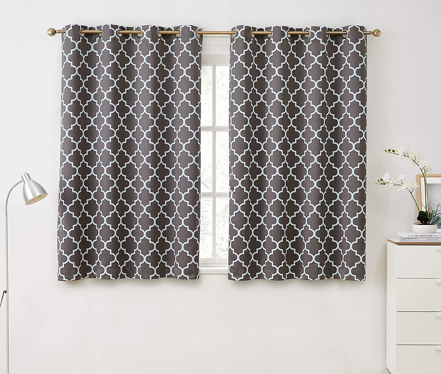HLC.ME Lattice Print Thermal Insulated Room Darkening Blackout Window Grommet Curtains for Bedroom & Living Room
