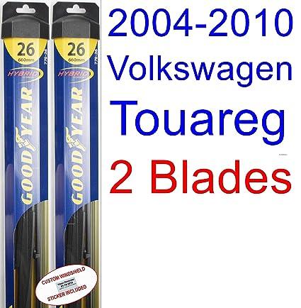 2004-2010 Volkswagen Touareg Replacement Wiper Blade Set/Kit (Set of 2 Blades) (Goodyear Wiper Blades-Hybrid) (2005,2006,2007,2008,2009)