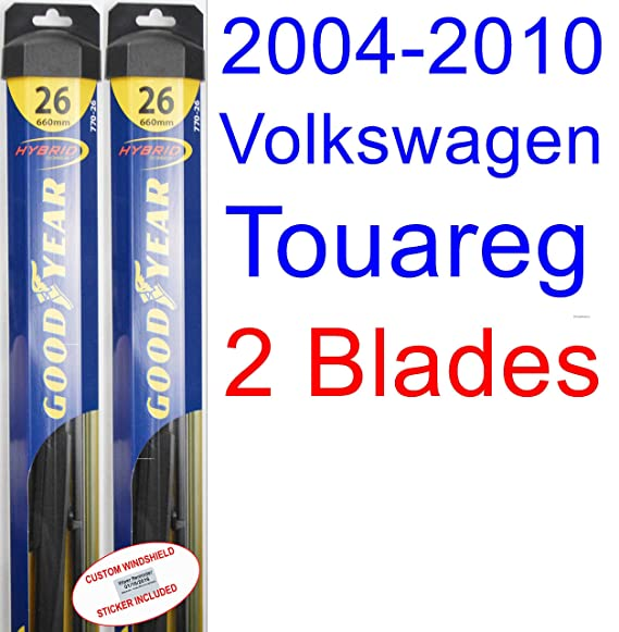 2004-2010 Volkswagen Touareg Replacement Wiper Blade Set/Kit (Set of 2 Blades) (Goodyear Wiper Blades-Hybrid) (2005,2006,2007,2008,2009)