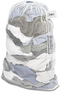 Whitmor Mesh Laundry Bag w/ID Tag White