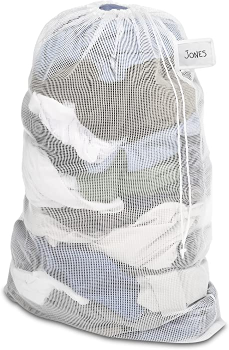 Whitmor Mesh Laundry Bag w/ID Tag White