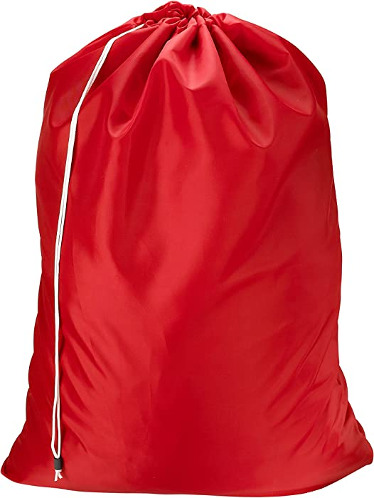Nylon Laundry Bag - Locking Drawstring Closure and Machine Washable. These Large Bags Will Fit a Laundry Basket or Hamper and Strong Enough to Carry up to Three Loads of Clothes. (Red)