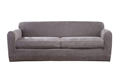 Beau Sure Fit Ultimate Stretch Chenille Two Cushion Sofa Slipcover   Gray