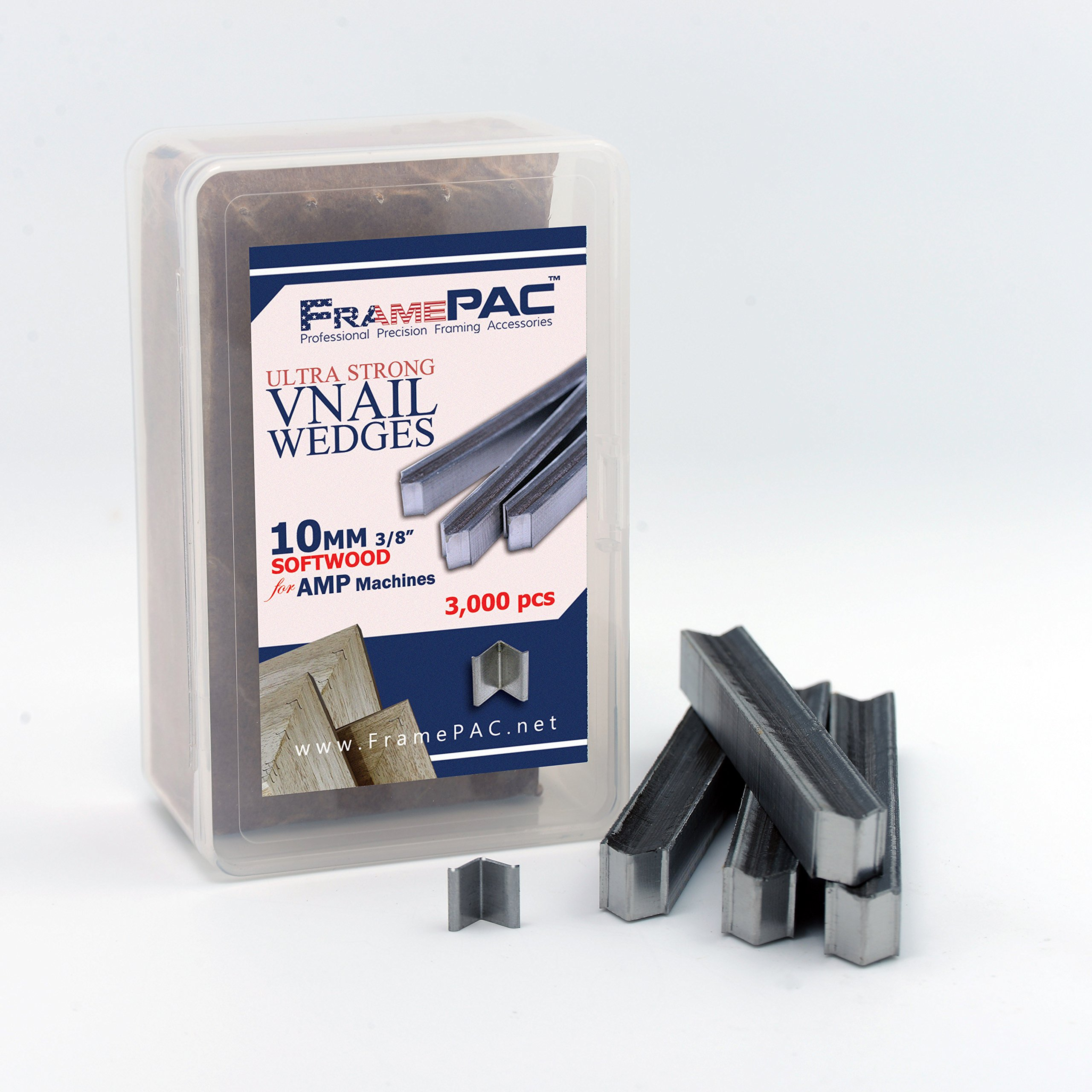 V Nails for Picture Framing - Ultra Strong - 10mm (3/8 Inch) Vnail Wedges for Joining Picture Frame Corners - Softwood Frames - AMP [3000 V Nail Pack, Stacked]
