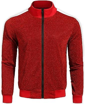 Simbama Mens Track Jacket Zip Clousure Striped Sportswear Slim Fit Baseball Jackets