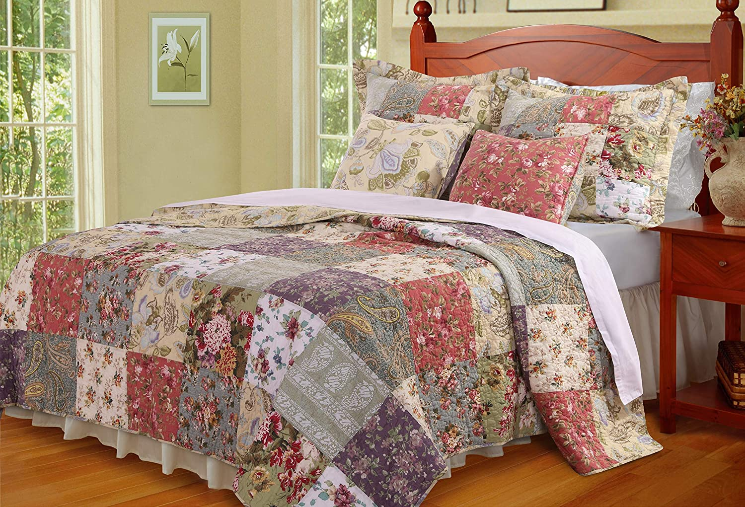 Greenland Home Blooming Prairie Cotton Patchwork Quilt Set, 5-Piece Full/Queen, Multi