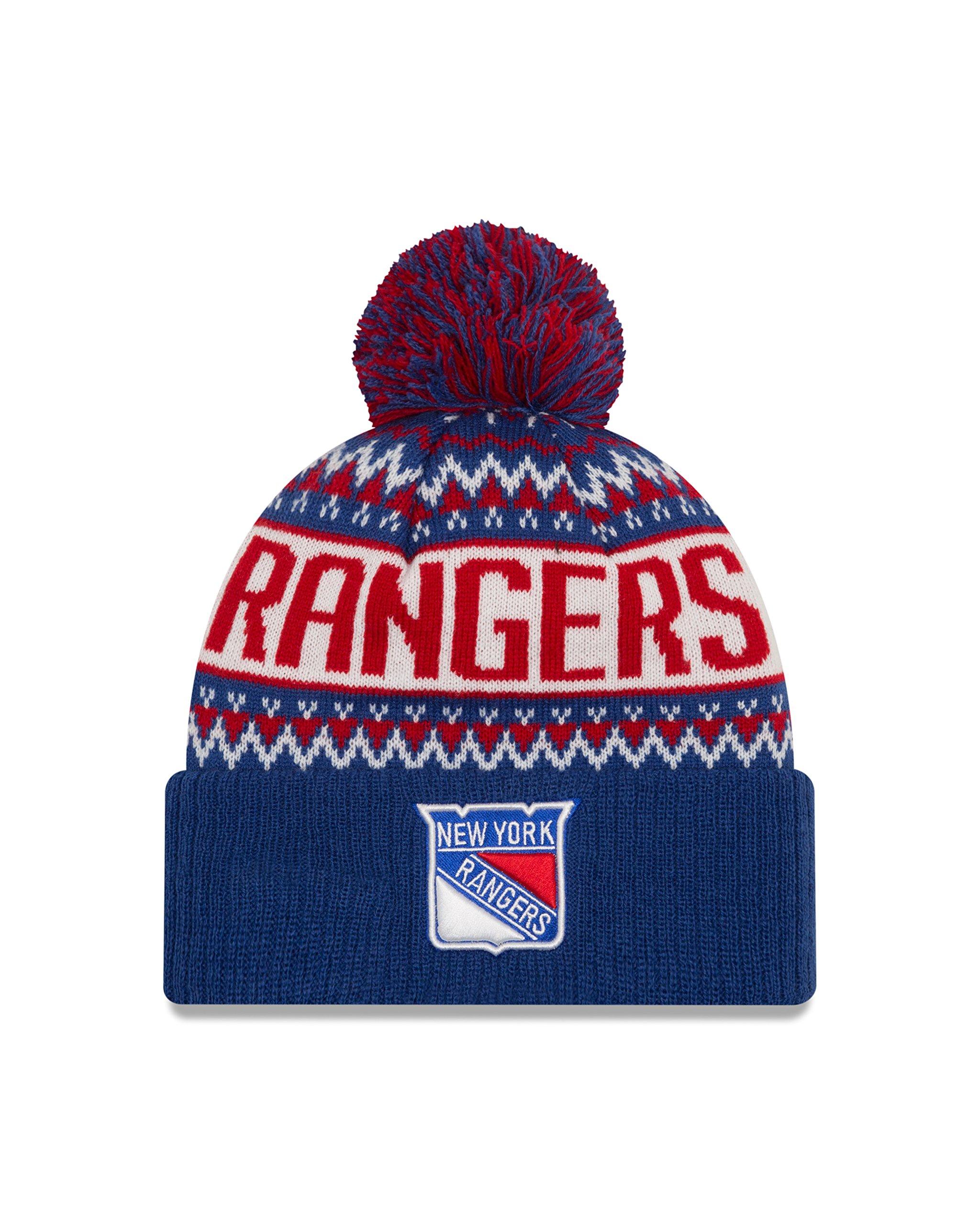 NHL New York Rangers Wintry Pom Knit Beanie, One Size, Blue