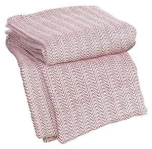 Lavish Home Chevron 100Percent Egyptian Cotton Blanket - Twin - Brick