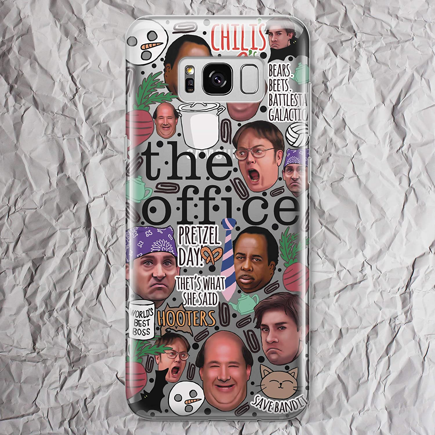 Dunder Mifflin Coffee Mug The Office TV Show Phone Case for Samsung Galaxy S10e S10 5G e S9 S8 S20 Ultra Plus S7 S6 Edge Note 10 Plus 9 8 Michael Scott Dwight Schrute Farms Beets Gifts Clear Cover