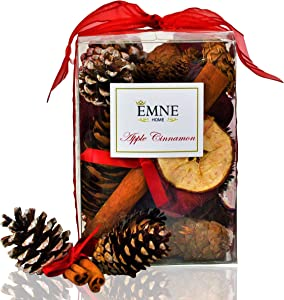EMNE HOME Apple Cinnamon Potpourri Box | Perfect Holiday Colors and Apple Cider Cinnamon Scent | Natural Cinnamon Cones | Hand Made in USA
