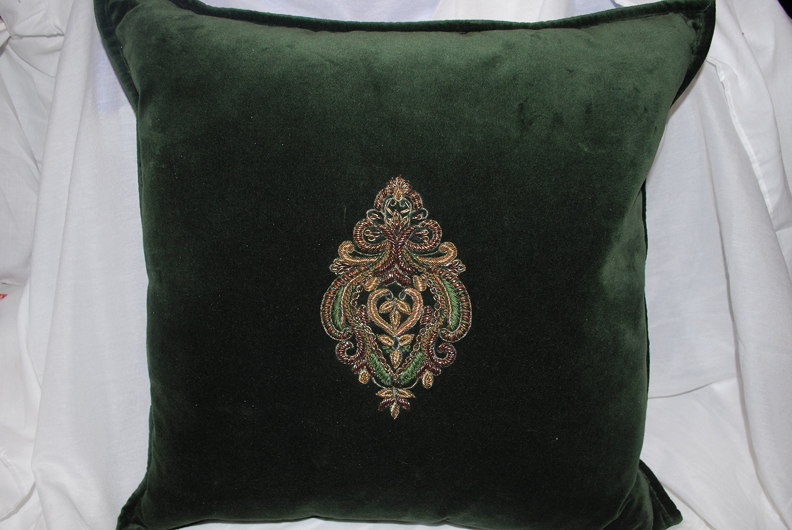 Ralph Lauren Bohemian Muse Bayfield Green Velvet Decorative Pillow with Gold Crest 18'' Square