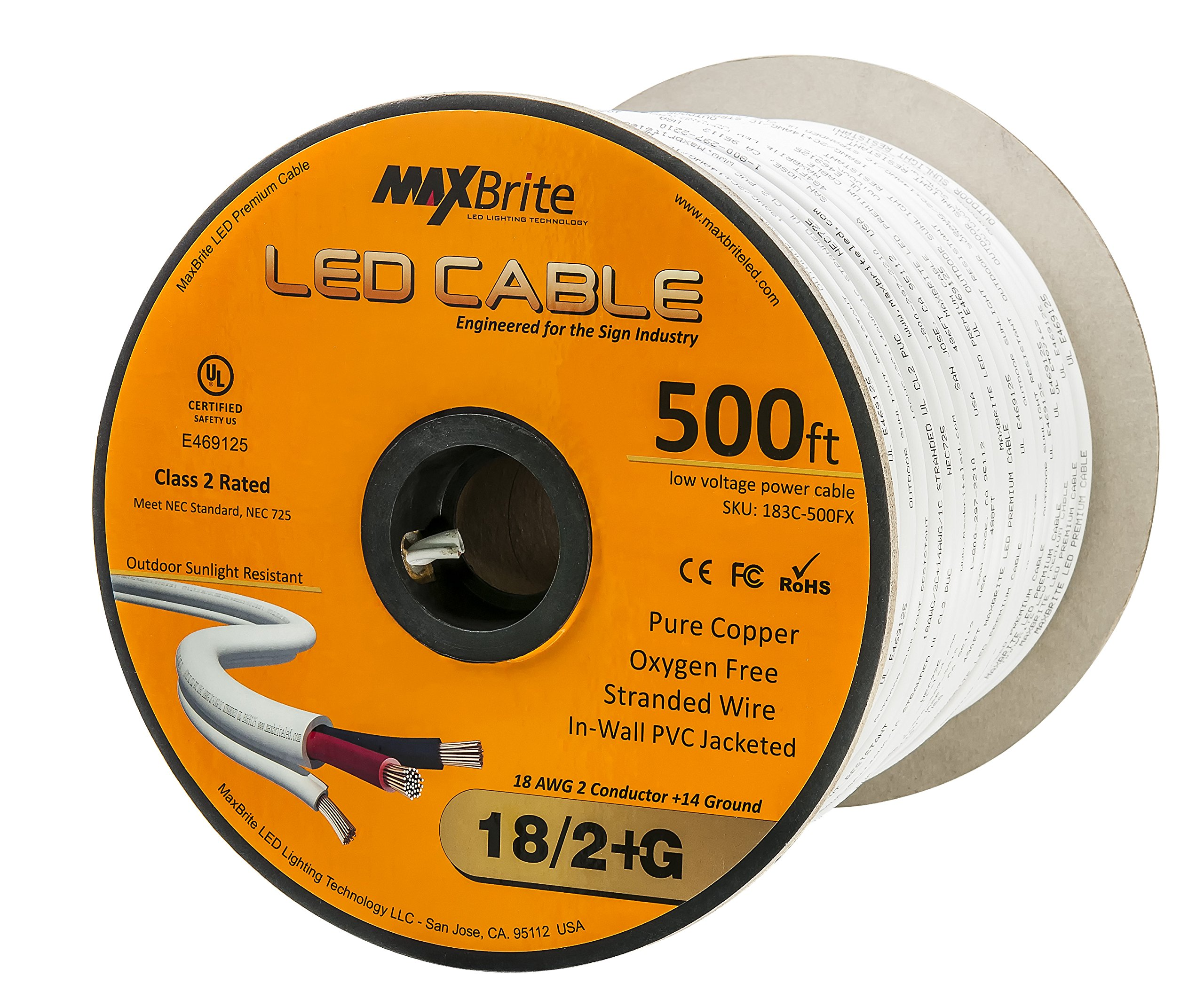 18AWG Low Voltage LED Cable, 3 Conductor, Outdoor Rated, Jacketed In-Wall Speaker Wire UL/cUL Class 2, Sunlight Resistant (500ft) by US LED Superstore