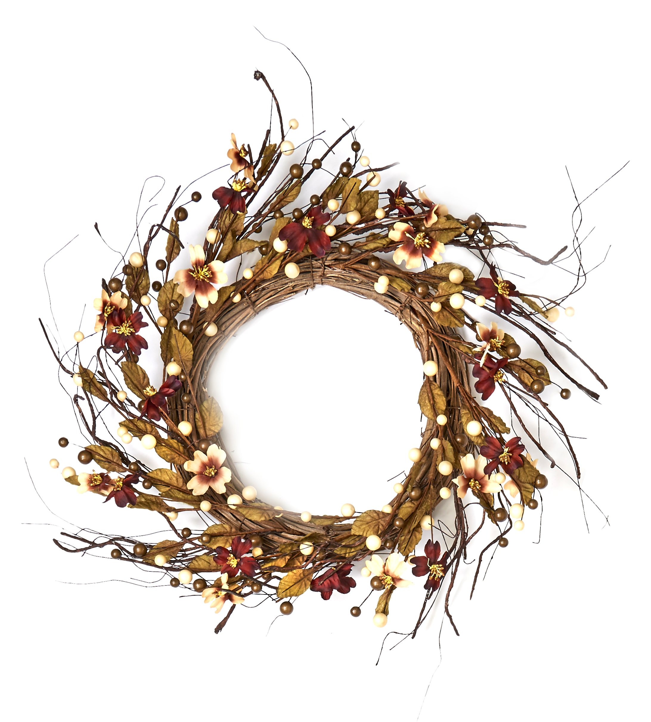 "silk flower arrangements worth imports berry & dogwood 24"" fall dogwood wreath on natural twig base"