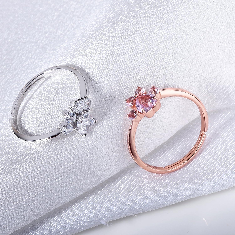 San Valentino Anello a Forma di Zampa di Gatto Anello Stampa Zampa Argento Sterling Regolabile Anello Rosa per Amanti dei Gatti Donne Natale Compleanno